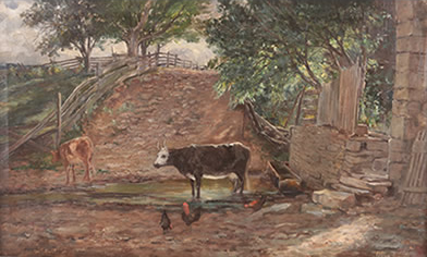 Olive Turney - Cows in Creek at Lehman Farm, Scalp Level, PA